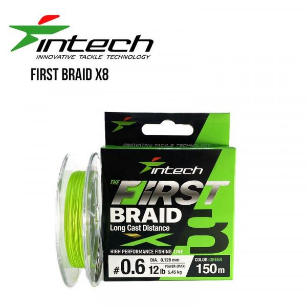 На фото Шнур плетеный Intech First Braid X8 Green 100m