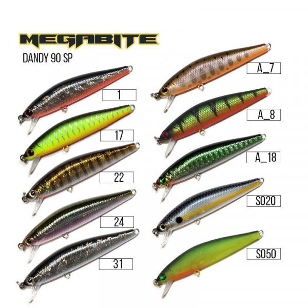 На фото Воблер Megabite  Dandy 90 SP (90 мм, 11,4 гр, 1,0 m)
