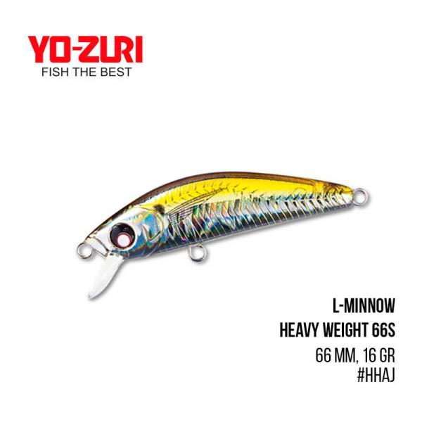 На фото Воблер Yo-Zuri L-Minnow Heavy Weight 66S (66mm, 16 gr, 1,5 m)