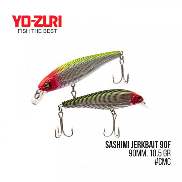 На фото Воблер Yo-Zuri Sashimi Jerkbait 90F (90mm, 10,5 gr, 0,8 m)